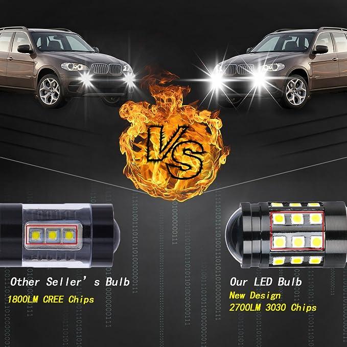 Amazon.com: NGCAT Super Bright 2PCS 2700 Lumens 3030 27SMD H7 Lens LED Bulbs for DRL Bulbs Fog Lights Day Running Light Lamp 12V-24V 6000K (White): ...
