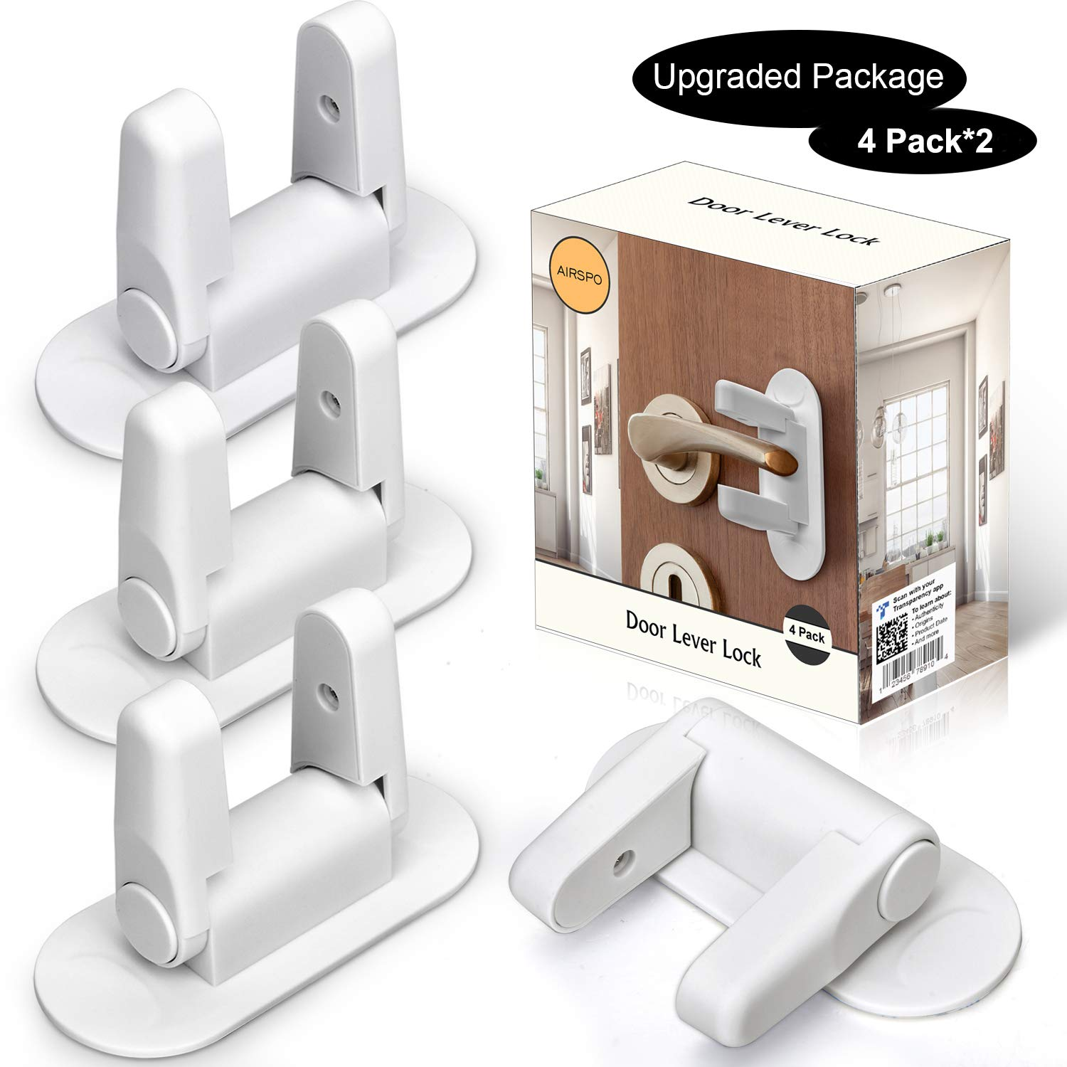 Door Lever Lock - Child/Pets Proof Door Handle Lock with 3M Adhesive - Child Safety Locks by AIRSPO (White, 8 Pack) by AIRSPO (Image #7)