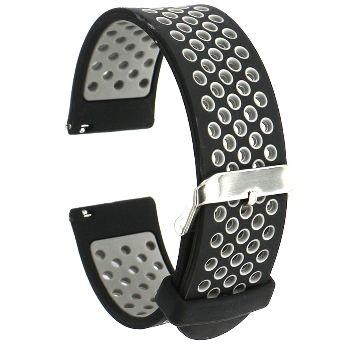 Correas de silicona EL-move, 18mm,20mm,22mm 24 mm (Black Grey 24MM)