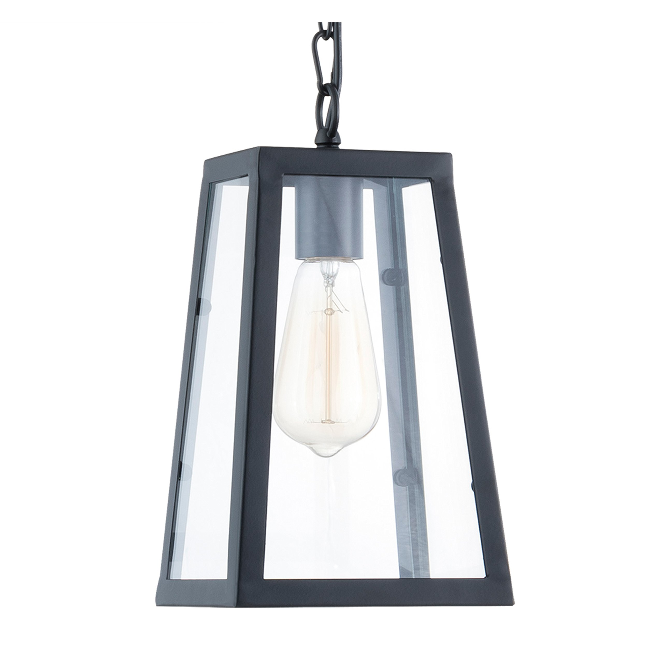 Light Society Serendipity Mini Pendant Light, Matte Black Shade with Clear Glass Panels, Vintage Modern Industrial Lighting Fixture (LS-C113)