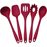 Lepilion 5 Piece Premium Silicone Kitchen Utensil Set in Hygienic Solid Coating | BPA FREE | Heat Resistant | Anti-Bacterial | Heat Resistant | Dishwasher Safe