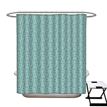 Retro Hotel Quality Shower Curtain Liner Ethnic Pattern With Floral Swirls Old Fashioned Botany Gardening Plants