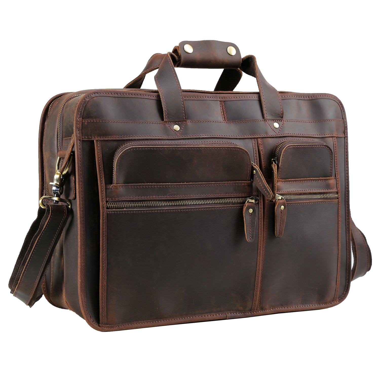 Texbo Men's Solid Full Grain Cowhide Leather Large 17 Inch Laptop Briefcase Messenger Bag Tote with YKK Metal Zipper by Texbo