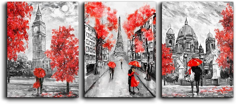 Amazon Com Canvas Wall Art Decor For Bedroom Black And White Scenery Romanti Couples Pictures Artwork Ready To Hang For Living Room Home Decoration Painting 12 X 16 3 Piece Paris Eiffel Tower
