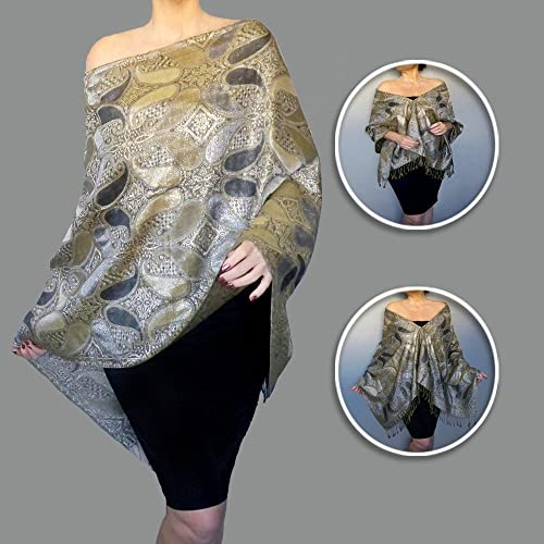 amazon metallic silver evening wrap shawl mother of the bride Black Evening Gown Shawls metallic silver evening wrap shawl mother of the bride grey wedding stole by ziici