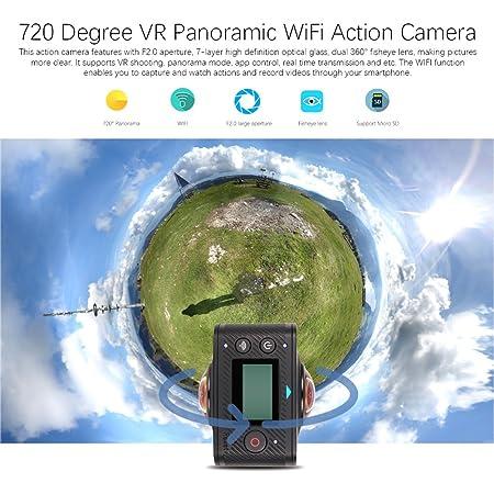 285097467cf Ocamo 360 PRO Sport Camera 8MP Pixels Dual Lens 720 Degree Panoramic View  VR Format Camera  Amazon.co.uk  Kitchen   Home