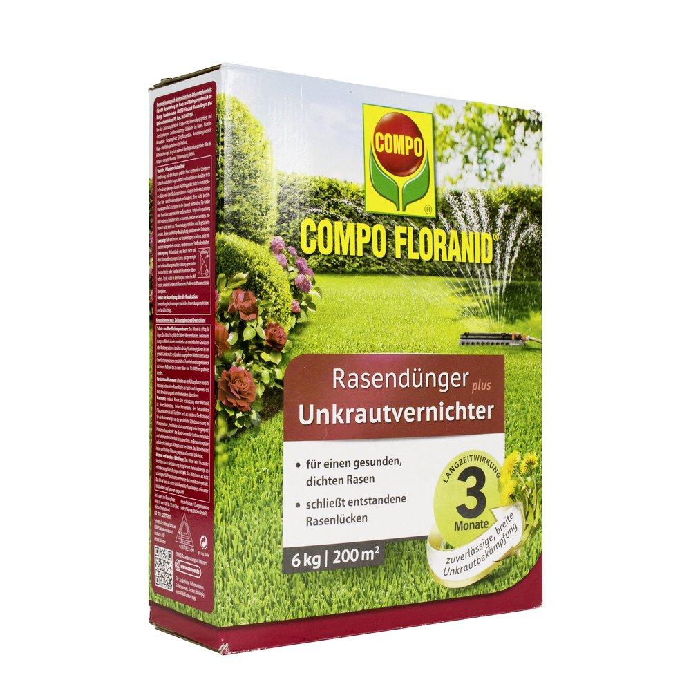 Compo floranid Cuidado del Césped–Abono Plus 12kg herbicida para 400m², Verde