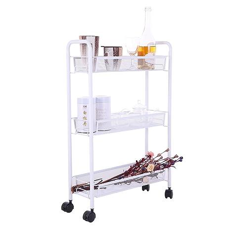 3 Tier Slim Storage Cart U2013 Slide Out Metal Mesh Rolling Tower For Narrow  Space