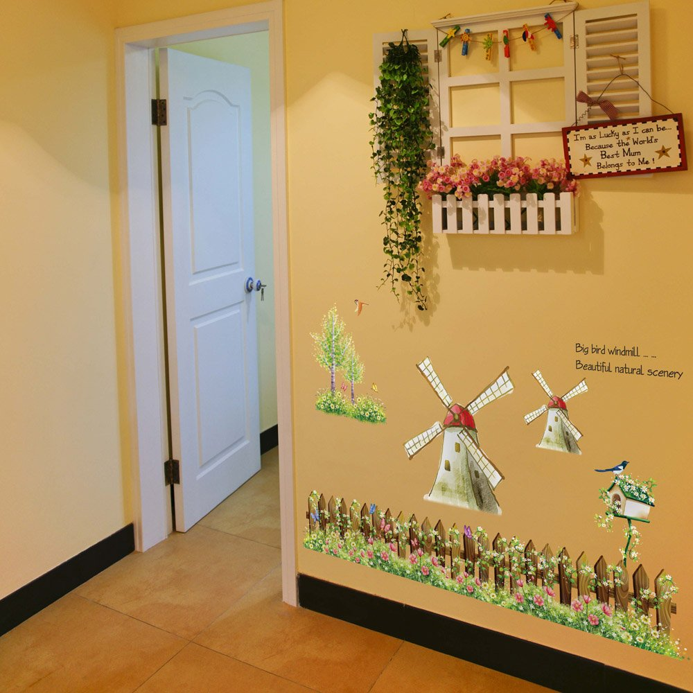 Amazon.com: Gadfly- Windmill Peel & Stick Nursery/baby Wall ...