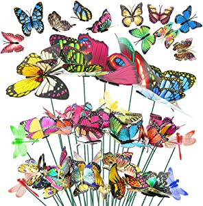 VGOODALL 50 PCS Butterfly Stakes and Dragonfly Stakes 11.75 inch Garden Ornaments Stakes, Waterproof Butterfly Garden Decorations for Indoor,Outdoor Yard, Patio Plant Pot, Christmas Decoration