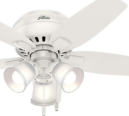 Hunter Fan 42 inch Fresh White Low Profile Indoor Ceiling Fan with Light Kit Renewed