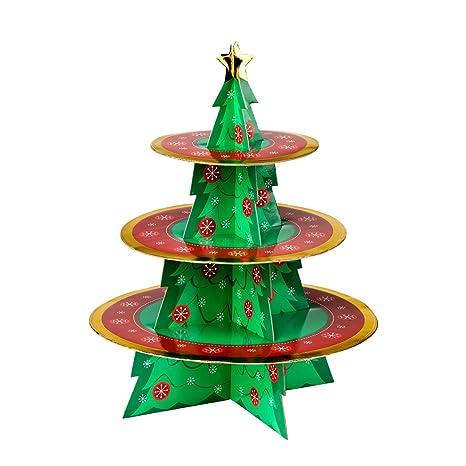 Albero Di Natale Natalizio 3 Livelli Alzata Per Torta Con Cartone