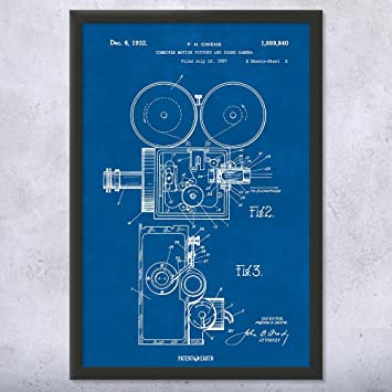 Amazon framed motion picture sound camera patent art print framed motion picture sound camera patent art print blueprint 18quot malvernweather Images