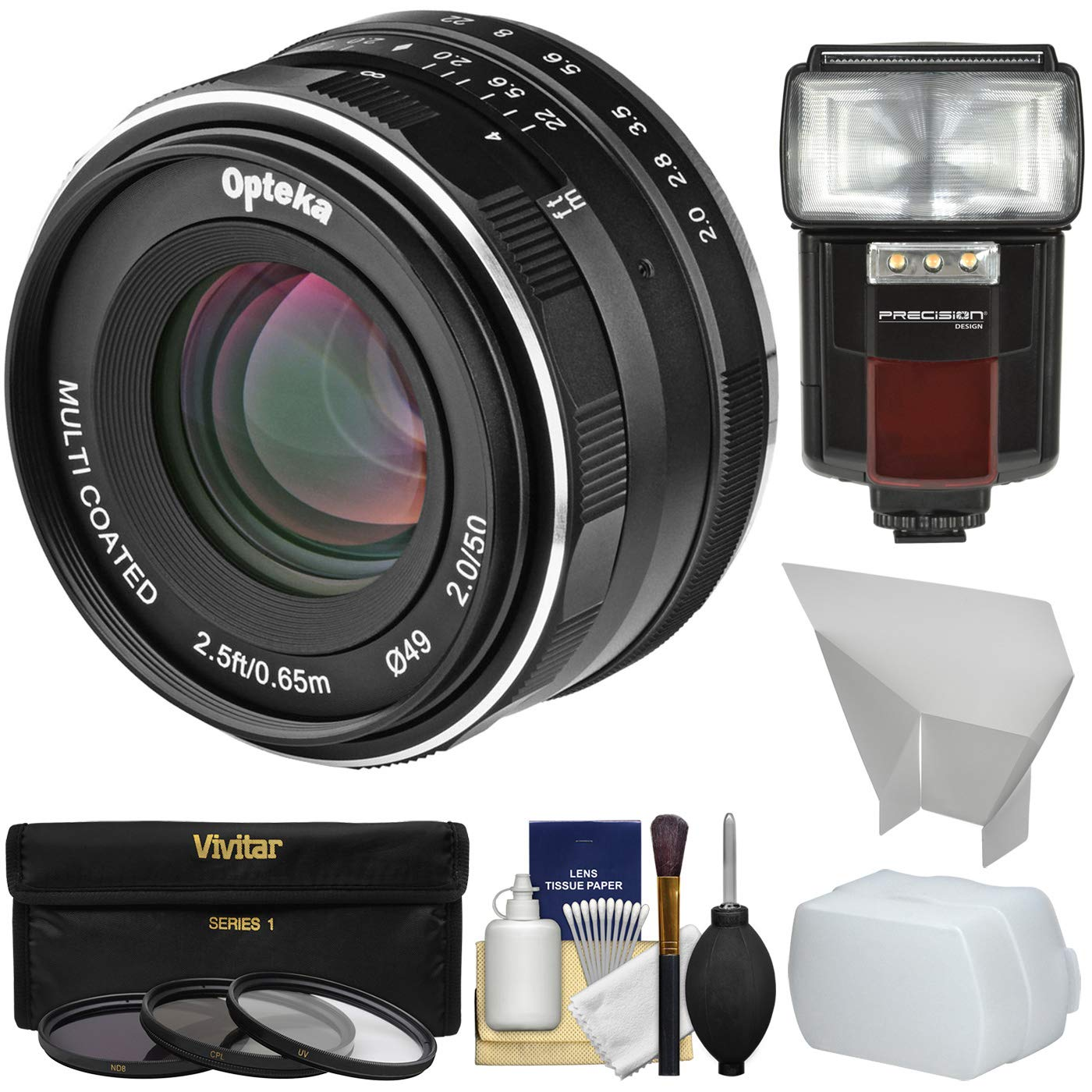 Opteka 50mm f/2 HD MF Prime Lens with 3 Filters + Flash + Diffusers Kit for Sony Alpha E-Mount Digital Cameras