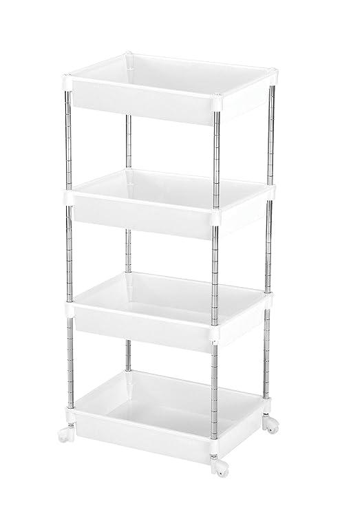 Premier Housewares - Mueble con Ruedas para el baño (Cromo y plástico, 78 x