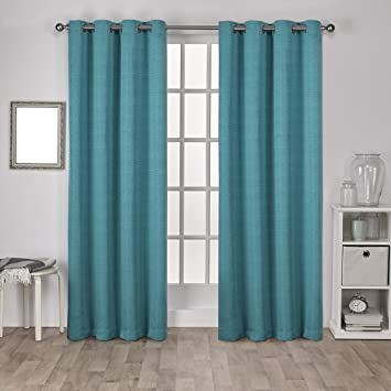 exclusive home curtains virenze faux silk grommet top window curtain panel pair teal 54x96