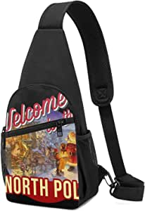 Alomama Welcome to The North Pole Christmas Sling Backpack Sling Bag Black Crossbody Daypack Casual Backpack for Travel, Hiking, Cycling, Camping for Women & Men