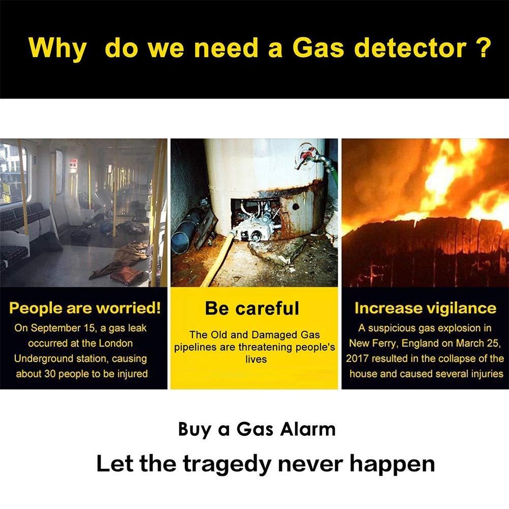 Alarma de Gas Combustible Metano Propano Butano para Cocina Hospital Garaje con Alarma Sonora y Pantalla Digital LED Detector de Gas GLP//Gas Natural//Detector de Fugas de Gas de Carb/ón