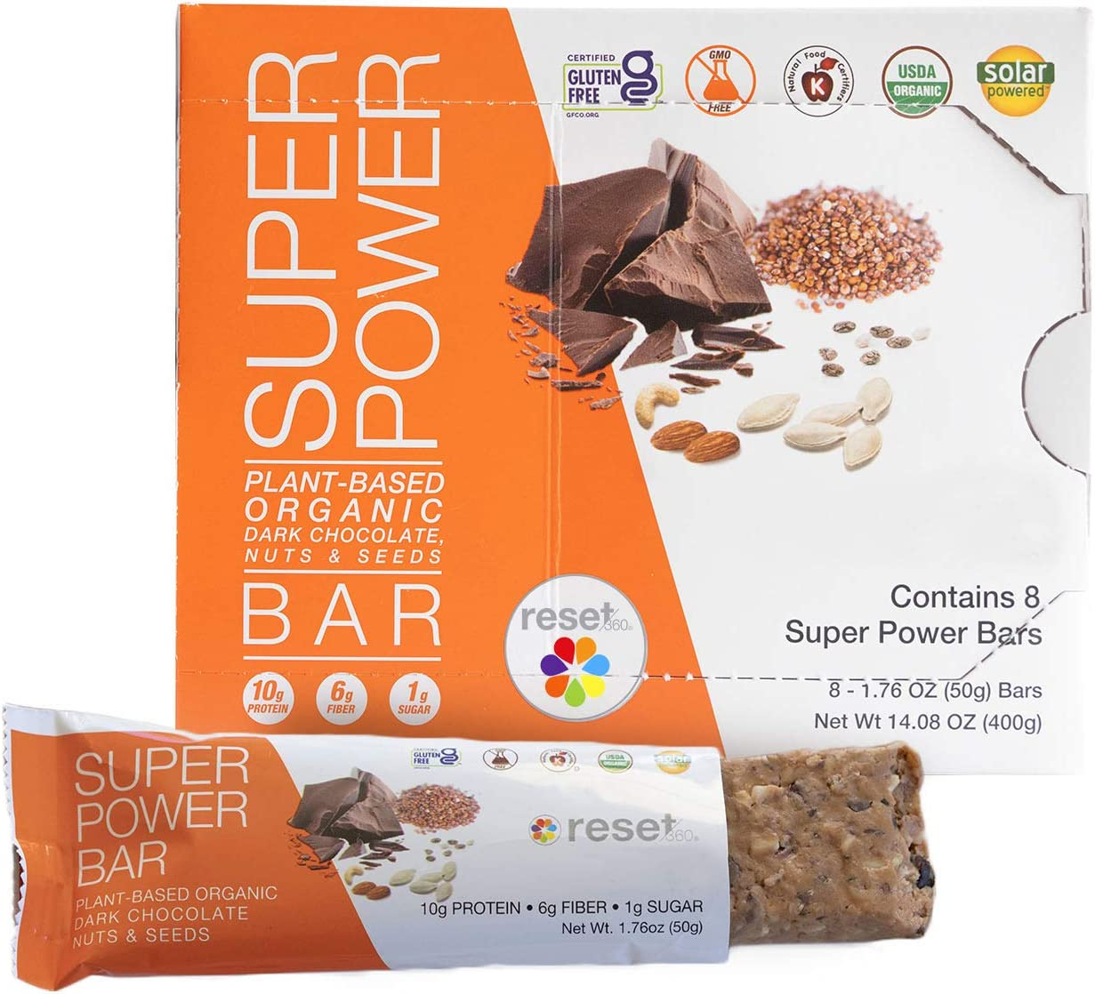 Reset360 Super Power Bar | Healthy Snack Bars, USDA Certified Organic Energy Bars, Plant Based Protein, Gluten & GMO Free Meal Replacement Bars | Dark Chocolate, Nuts and Seeds, 8 Bars per Box, 1 Pack