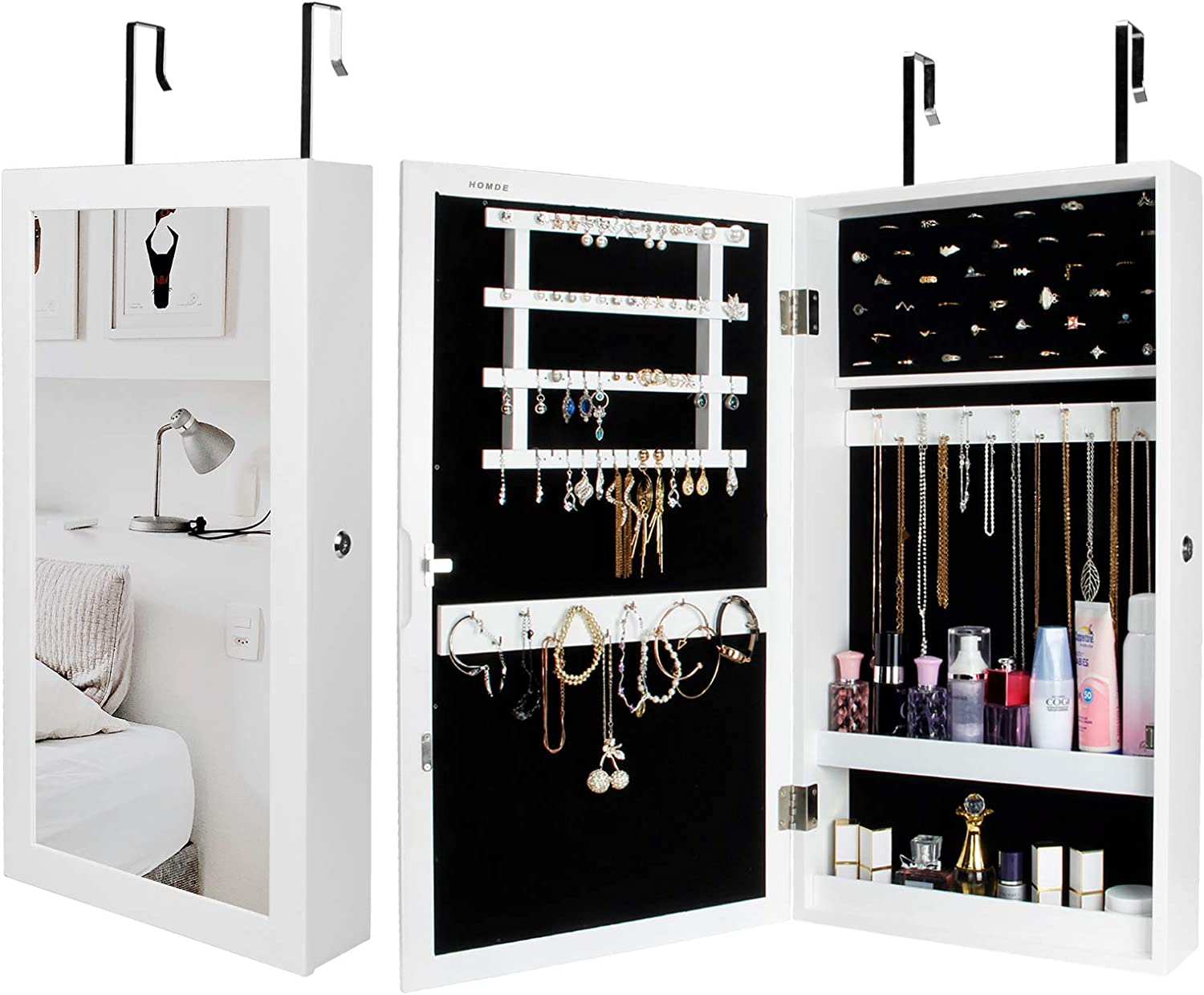 Homde Lockable Jewelry Cabinet Armoire Wall-Mounted with Mirror Jewelry Storage Organizer (White)