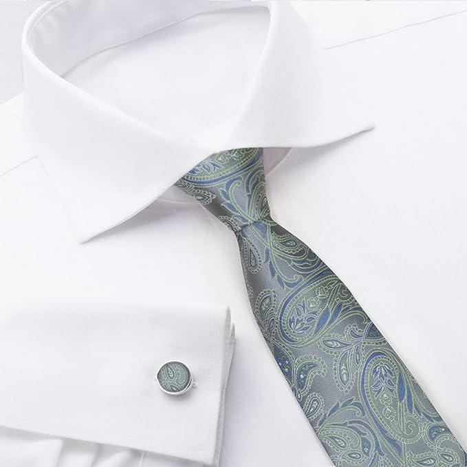 Y&G Herren Set, Paisley Gr. Tie + Mannschettenknöpfe, Grau -  YABB0002-Grey,Green: Amazon.de: Bekleidung