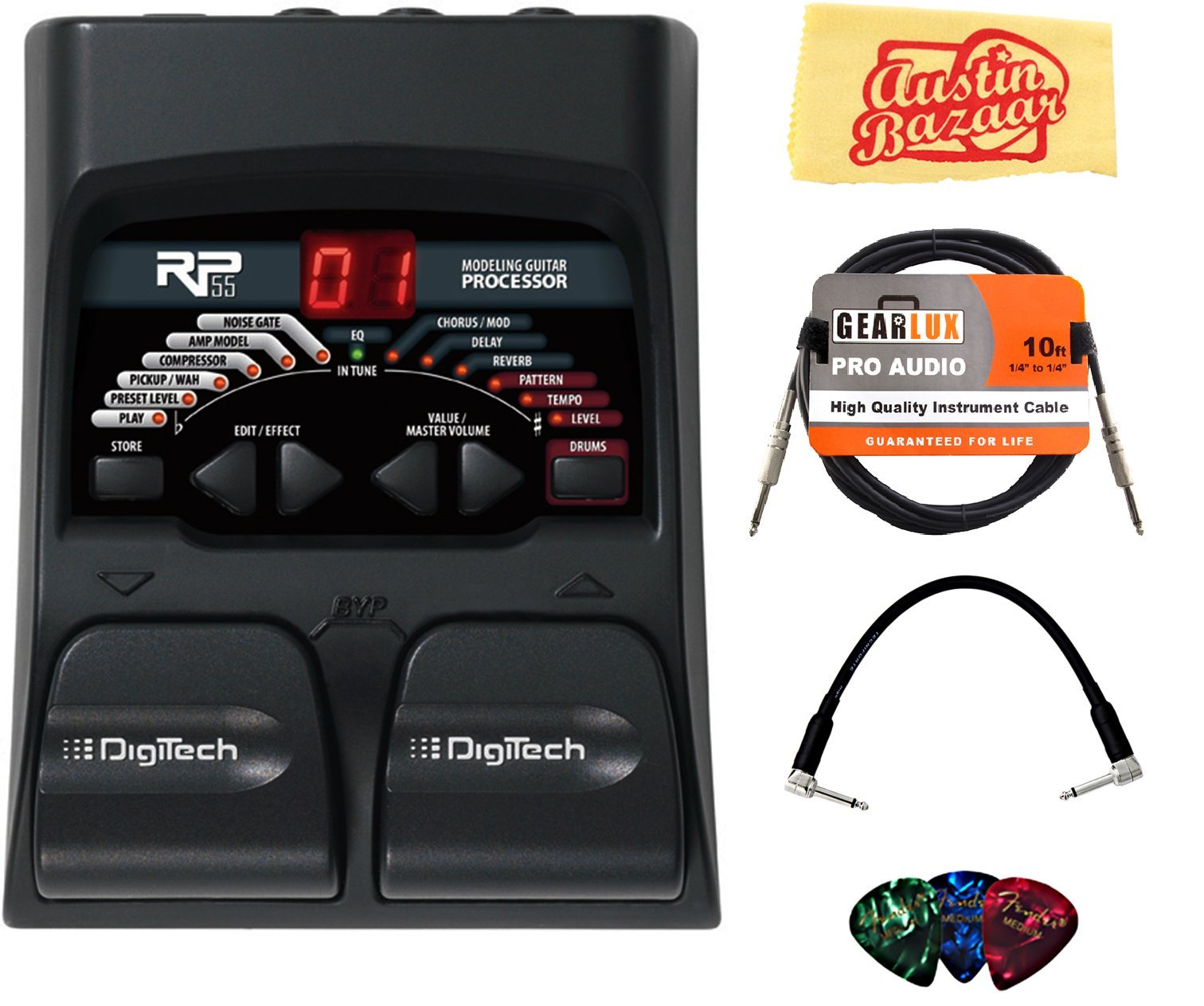 DigiTech RP55 Multi-Effects Pedal Bundle with Instrument Cable, Patch Cable, Picks, and Austin Bazaar Polishing Cloth by DigiTech