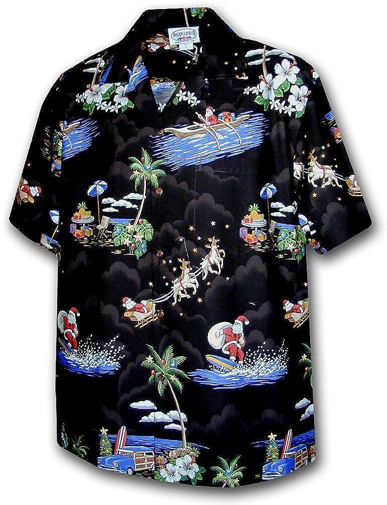 Hawaiian Aloha Shirt Classic Santa Black Made in Hawaii