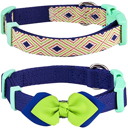 4ba570784080 Amazon.com : Blueberry Pet Pack of 2 Multiple Designs Mix and Match  Stunning Diamonds Dog Collar for Puppies & Small Dogs with Detachable Green  Bow Tie, S, ...
