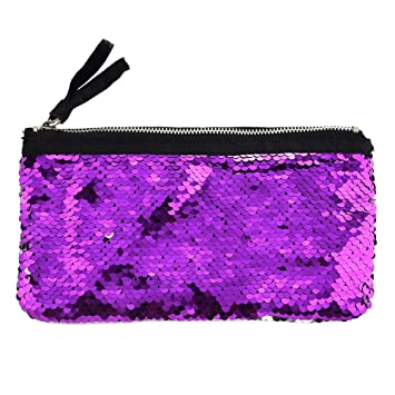 4b5baf9ce413 Amazon.com   Pencil Case Sequin Cosmetic Bag Womens Girls Glitter Makeup  Pouch Handbag DIY Reversible Stationery Organizer Holders Evening Clutch Purse  Bag ...