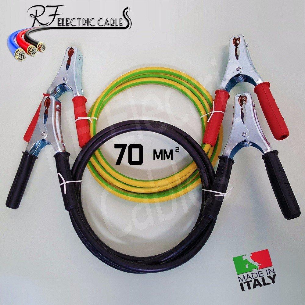 CAVI PER COLLEGAMENTO BATTERIA IN RAME PROFESSIONALI 70 mm² 5 METRI 400 A SCOOTER MOTO AUTO CAMPER CAMION TIR TRATTORI Elettrocavi K