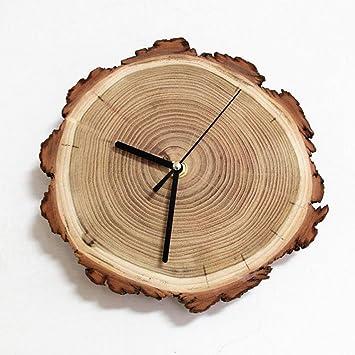 reloj de pared YYF Reloj de Madera Minimalista Artesanal Reloj de Madera Retro Artesanal (Color : B): Amazon.es: Hogar