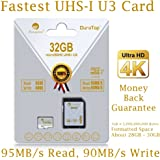 32GB Micro SDHC U3 Card Plus SD Adapter Pack. Amplim Extreme Pro Class 10 UHS-I MicroSDHC 95MB/s Read, 90MB/s Write. Ultra High Speed HD UHD 4K Video. Internal/External MicroSD Flash Memory Storage