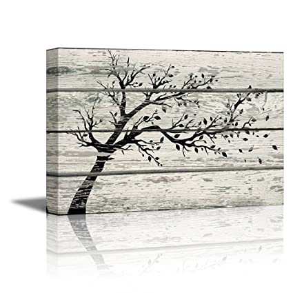 8d64c5e926c Amazon.com  wall26 - Canvas Prints Wall Art - Artistic Tree with Leaves in  Black and White on Vintage Wood Background Rustic Home Decoration - 16