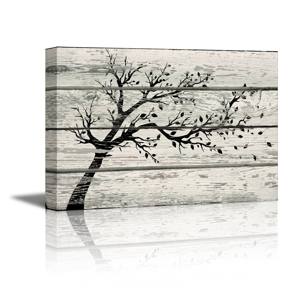 wall26 Canvas Prints Wall Art - Artistic Tree with Leaves in Black and White on Vintage Wood Background Rustic Home Decoration - 24'' x 36''