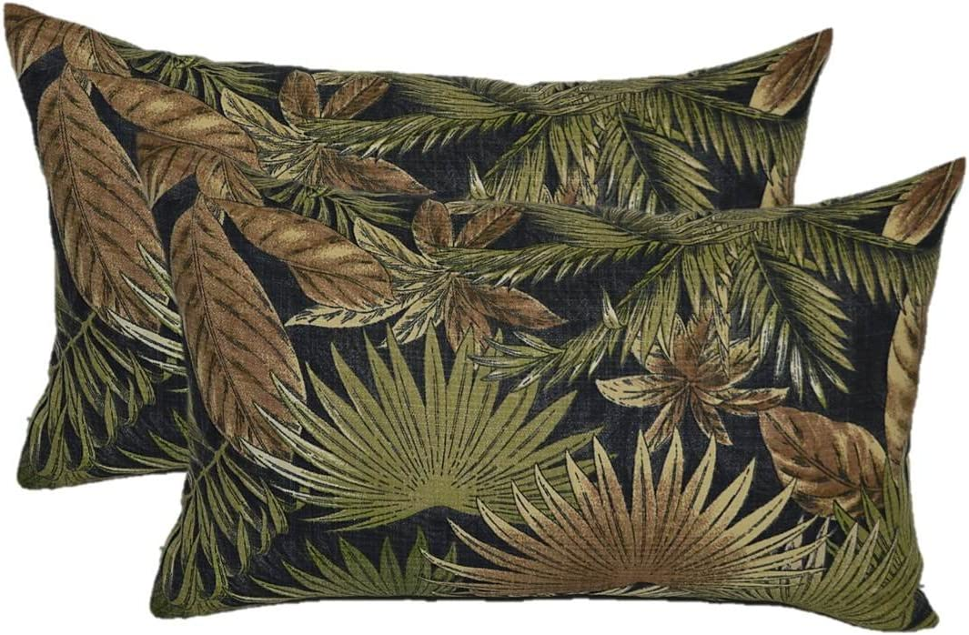 Set of 2 Indoor Outdoor Decorative Lumbar Rectangle Pillows – Tommy Bahama Bahamian Breeze – Black, Tan, Green Tropical Palm Leaf – Choose Size 11 x 19
