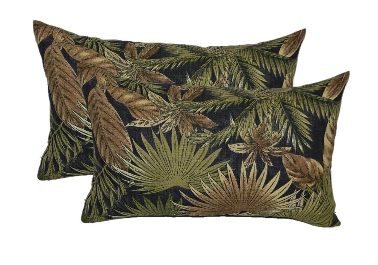 Set of 2 Indoor / Outdoor Decorative Lumbar / Rectangle Pillows - Tommy Bahama Bahamian Breeze - Black, Tan, Green Tropical Palm Leaf - Choose Size (11'' x 19'')