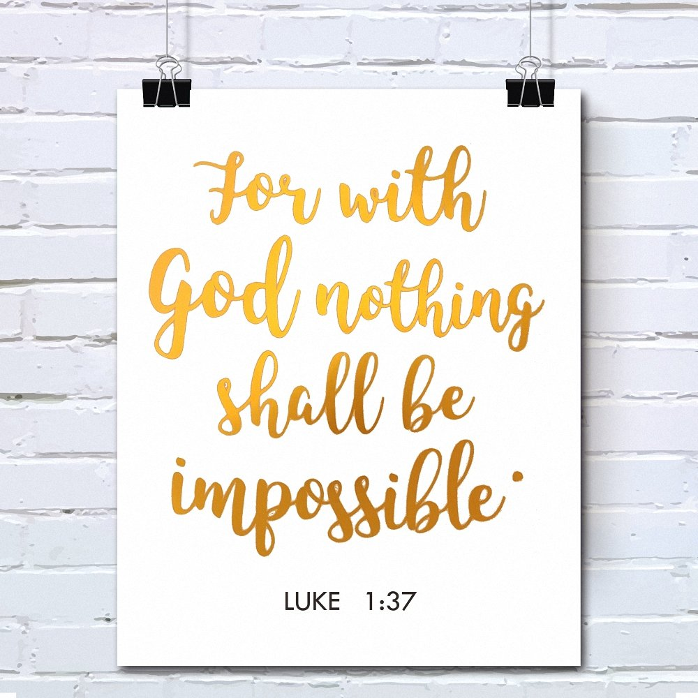 Amazon.com: Bible Verses Gold Foil Wall Art Decor Quotes Printed ...