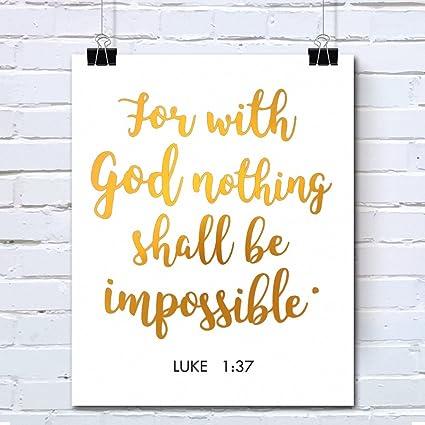 Amazon.com: Bible Verses Gold Foil Wall Art Decor Quotes Printed ...