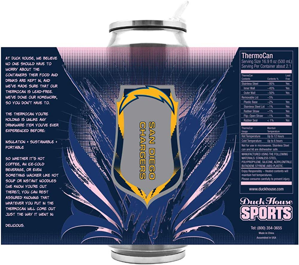NFL Los Angeles Chargers 16oz Double Wall Stainless Steel Thermocan