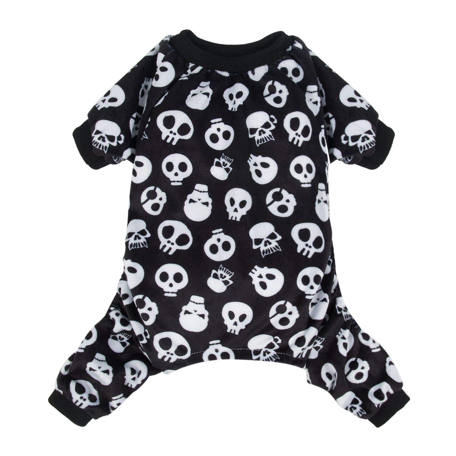 Black white skeleton XS (Chest Girth12.5'' Back Length7.5'') Black white skeleton XS (Chest Girth12.5'' Back Length7.5'') CuteBone Dog Pajamas Skeleton Dog Apparel Dog Jumpsuit Pet Clothes Pajamas P11XS