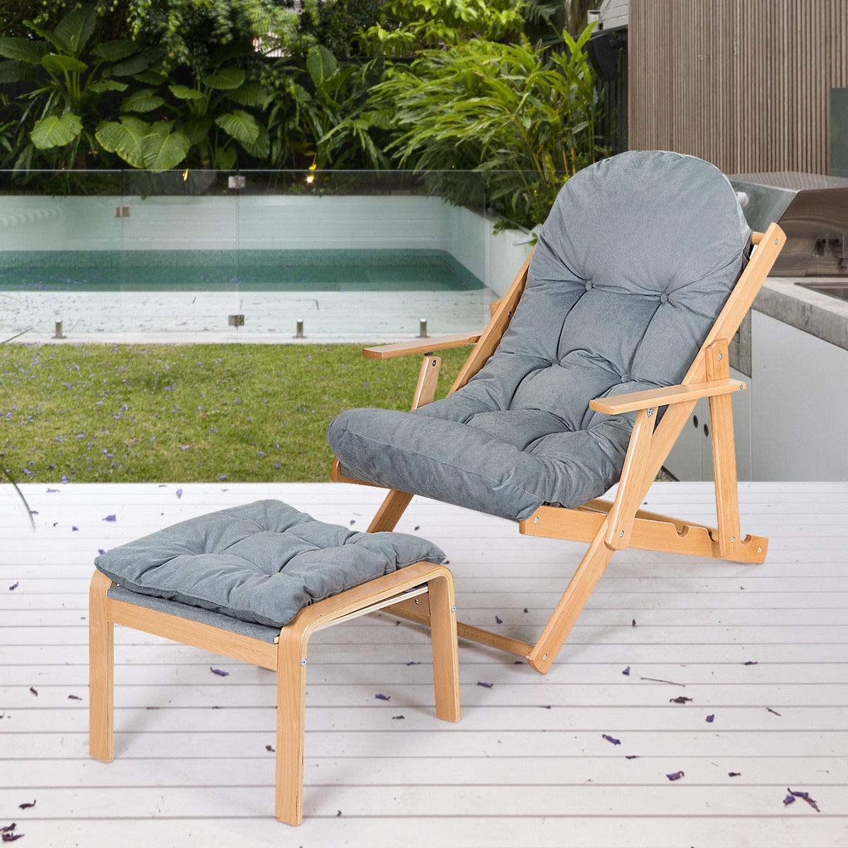 Amazon.com: Giantex Padded Reclining Chair with Footrest ...