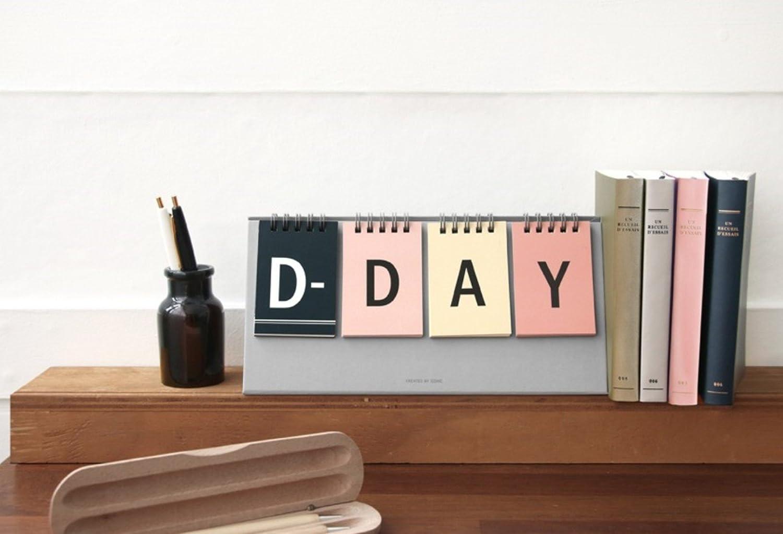 ICONIC D-Day Calendar - Wirebound flip for both Perpetual desk calendar and D-Day desk calendar (Gray)
