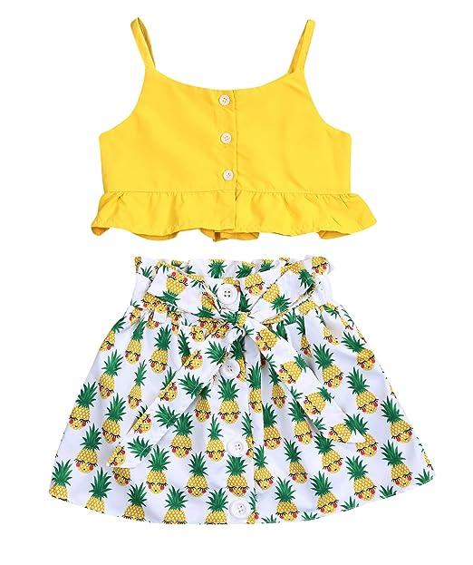 4d6264dff Kids Toddler Baby Girls Summer Skirt Outfit Set Strap Ruffle Shirt+Pineapple  Print Tutu Skirt