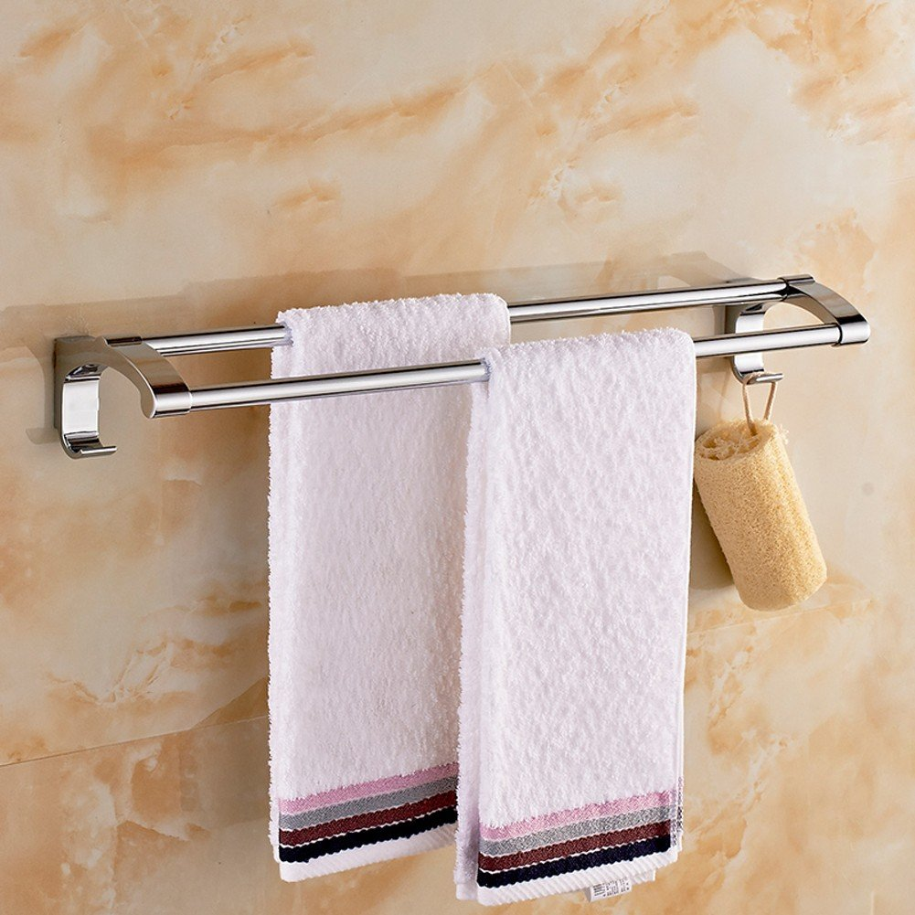 well-wreapped KHSKX Stainless steel bathroom towels bathroom towel bar bathroom stainless steel double hanging rod