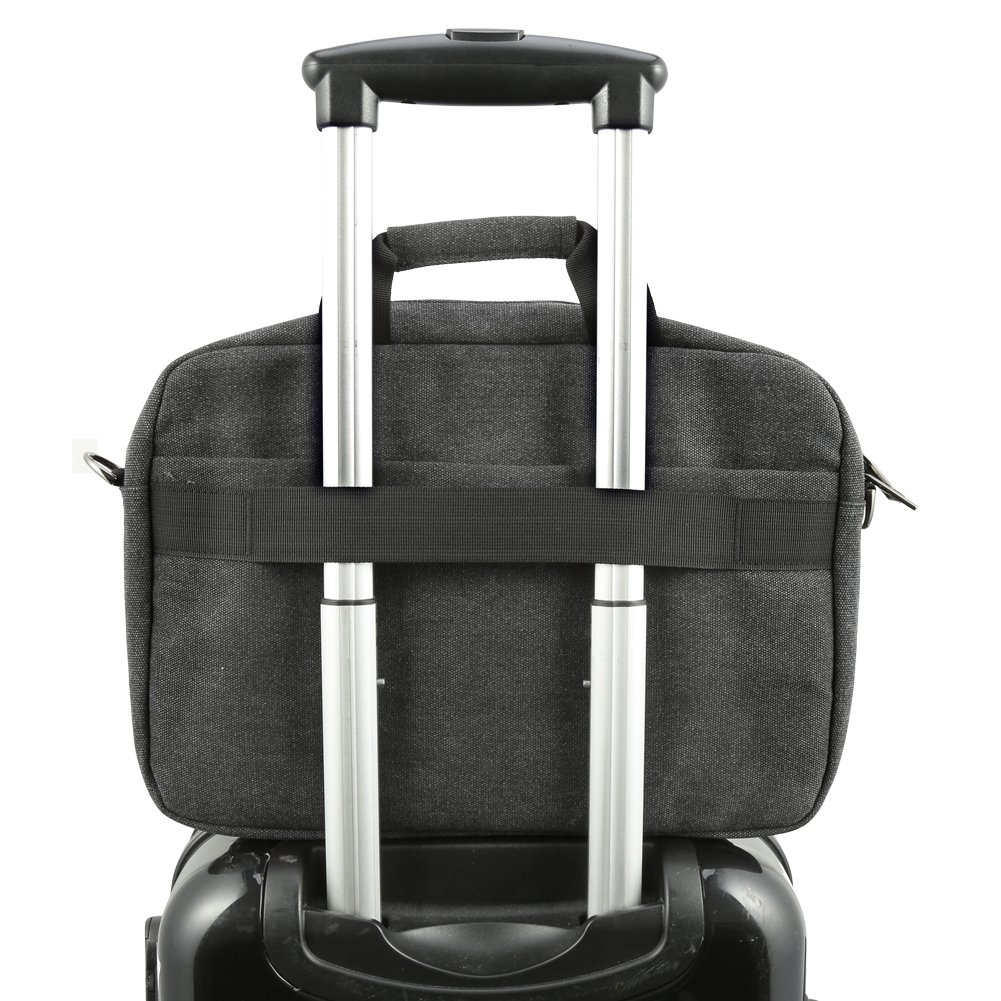 13.3 inch Laptop Messenger Bag, Evecase 13.3'' - 14'' Canvas Messenger Bag - Dark Grey w/Handles, Shoulder Strap for laptops, Samsung ultrabooks, Apple MacBook, Microsoft, Sony Tablet PC by Evecase (Image #6)