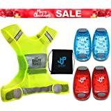 ONE DAY SALE ! Running Vest and LED Safety Light Sets (4-Pack and 3 BONUSES), The Perfect Waterproof Running Light and Reflective Vest, Suitable for Jogging, Cycling, Biking, Dog Walking, Strobe Light