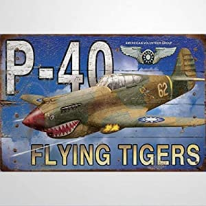 BYRON HOYLE P-40 Flying Tiger Metal Sign,Vintage Tin Plaque,Yard Sign Wall Hanging Art,Rustic Wall Decor for Home Garage Coffee Bar Pub Farmhouse Living Room