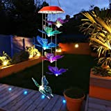 SIX FOXES Solar Wind Chimes, Butterfly Wind Chimes Outdoor with Color Changing LED Mobile Patio Lights, Romantic Décor for Garden Yard Home, Gifts for Mom, Wife, Grandma