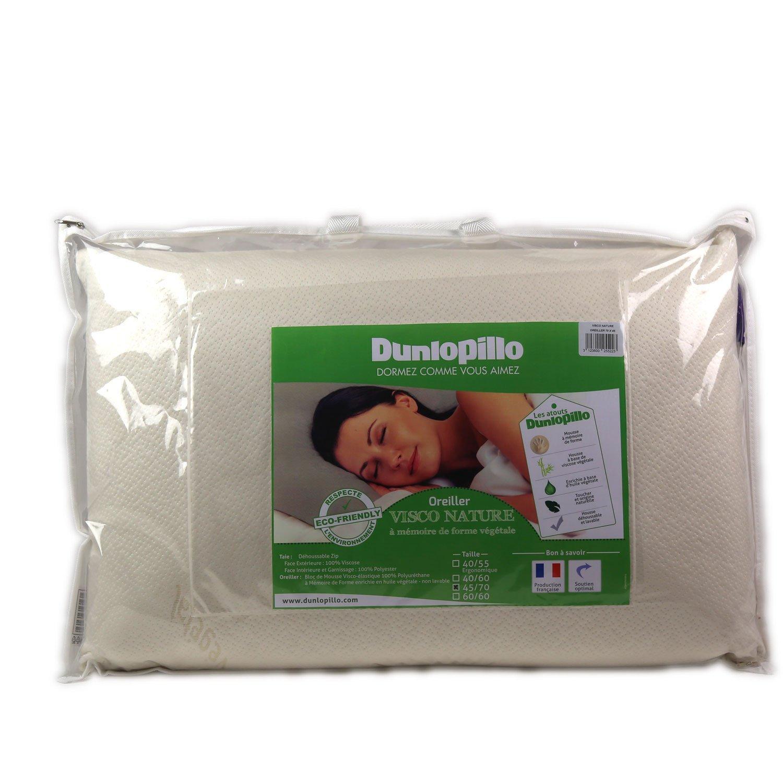 oreiller dunlopillo memoire de forme Dunlopillo Visco Nature Oreiller Blanc 45 x 70 cm: Amazon.fr  oreiller dunlopillo memoire de forme