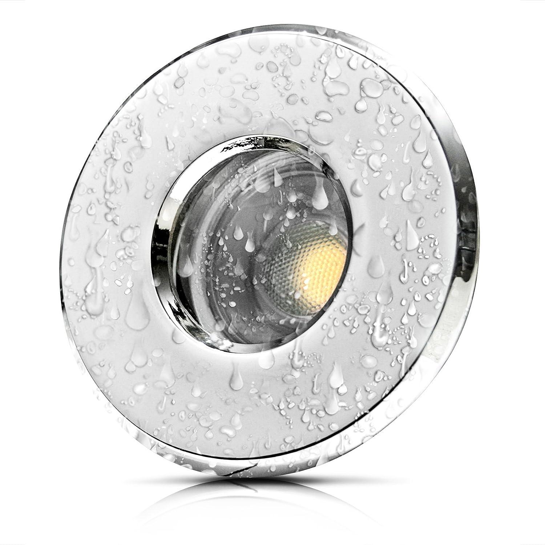 9 Stück IP54 MCOB LED Bad Einbaustrahler Nautilus 230 Volt 3 Watt Chrom glänzend Neutralweiß
